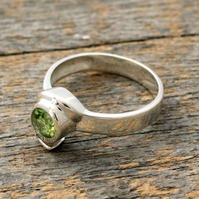 Peridot solitaire ring, 'Sea of Love' - Handcrafted Sterling Silver Peridot Ring