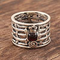Garnet solitaire ring, 'Woven Myths'