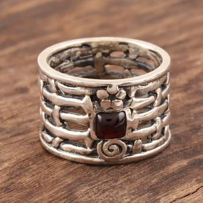 Garnet solitaire ring, 'Woven Myths' - Sterling Silver Single Stone Garnet Ring from India