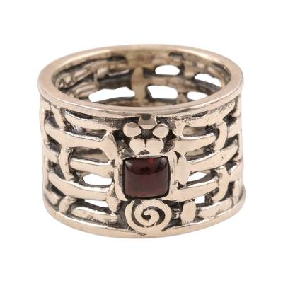Sterling Silver Single Stone Garnet Ring from India