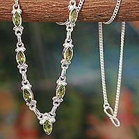 Peridot pendant necklace, 'Cascade' - Artisan Jewelry Peridot Pendant Necklace