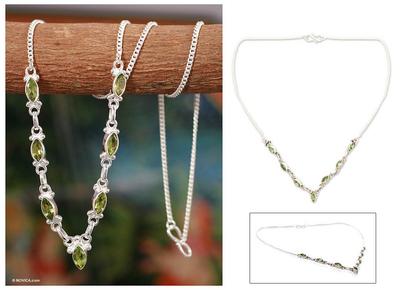 Peridot pendant necklace, 'Cascade' - Artisan jewellery Peridot Pendant Necklace