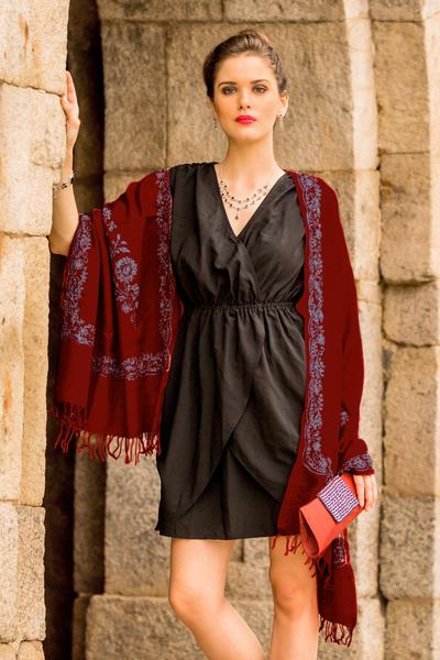 Wool shawl, 'Floral Wine' - Fair Trade Indian Wool Shawl