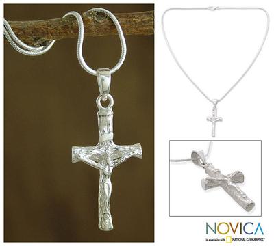 Sterling silver cross necklace, 'Cross of Sacrifice' - Cross Sterling Silver Necklace Religious Jewelry