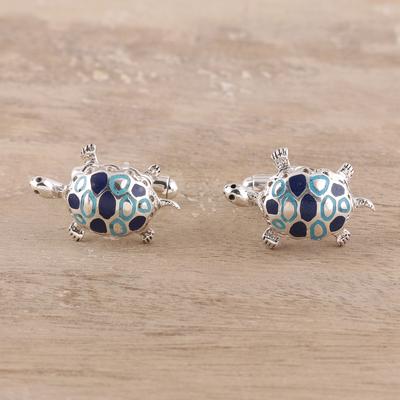 Sterling silver cufflinks, 'Trendy Turtles' - Sterling Silver Cufflinks Good Luck Mens jewellery Turtles