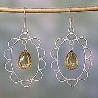 Citrine dangle earrings, 'Sunshine Crown' - Citrine dangle earrings