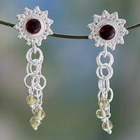 Garnet and peridot waterfall earrings, 'Shooting Stars' - Garnet and peridot waterfall earrings