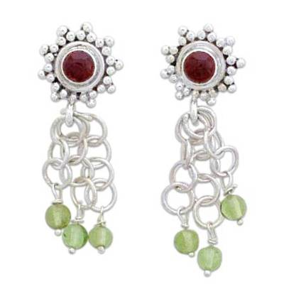 Garnet and peridot waterfall earrings