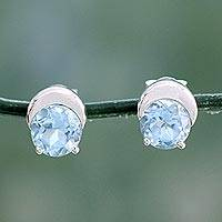 Blue topaz stud earrings, 'Twinkling Moons' - Sterling Silver and Blue Topaz Stud Earrings from India