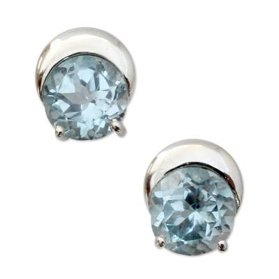 Sterling Silver and Blue Topaz Stud Earrings from India