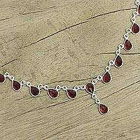 Garnet waterfall necklace, 'Scarlet Droplets' - Garnet Artisan Crafted Sterling Silver Waterfall Necklace