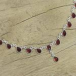 Artisan Crafted Sterling Silver Waterfall Garnet Necklace, 'Scarlet Droplets'