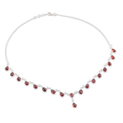 Artisan Crafted Sterling Silver Waterfall Garnet Necklace
