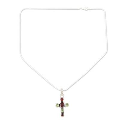 Peridot and Garnet Sterling Silver Necklaced Cross Jewelry