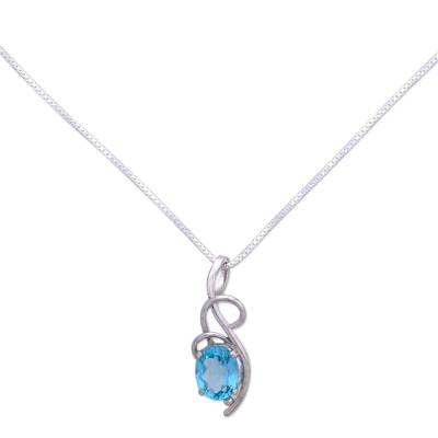 Topaz pendant necklace, 'Blue Delight' - Topaz pendant necklace