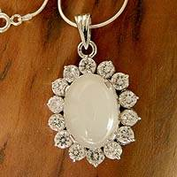 Moonstone pendant necklace, 'Midnight Song' - Moonstone pendant necklace