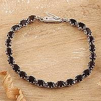 Smoky quartz tennis bracelet, 'Evening Mist'