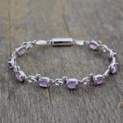 Amethyst tennis bracelet, 'Shy Violet' - Amethyst tennis bracelet