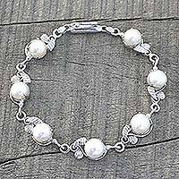 Cultured pearl bracelet, 'White Roses' - Cultured Pearl Floral Sterling Silver Bracelet