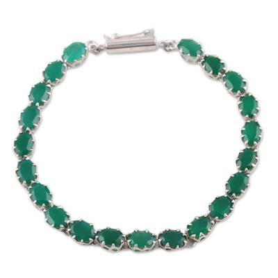 Handcrafted Sterling Silver and Enhanced Green Onyx Tennis Bracelet