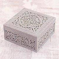 Soapstone jewelry box, 'Floral Medallion' - Indian Jali Soapstone jewellery Box