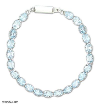 Topaz tennis bracelet, 'Enchanted Blue' - Topaz tennis bracelet