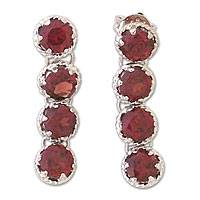 Garnet earrings, 'Glamorous' - Garnet earrings