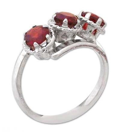 Fair Trade Garnet 3 Stone Ring