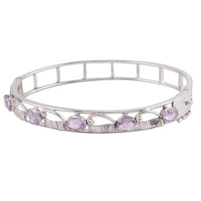 Handcrafted Silver Bangle with Faceted Rose Quartz