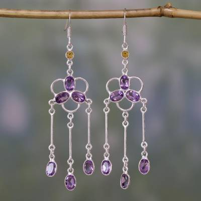 Amethyst and citrine waterfall earrings, 'Charisma' - Amethyst and Citrine Waterfall Earrings