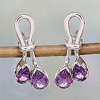 Amethyst drop earrings, 'Promise' - Handcrafted Amethyst Silver Earrings