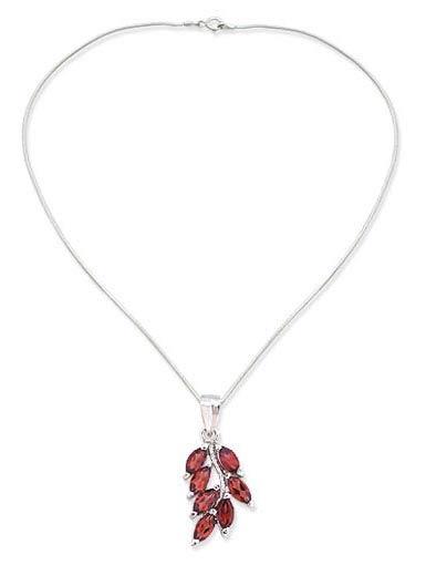 Garnet flower necklace, 'Scarlet Blaze' - Garnet flower necklace