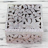 Soapstone jewelry box, 'White Ivy' - Artisan Crafted Soapstone Jali Jewelry Box