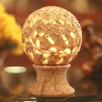 Soapstone candleholder, 'Light the World' - Hand Carved Stone Leaf Candle Holder