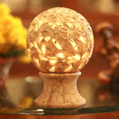Soapstone candleholder, 'Light the World' - Handcrafted Soapstone Leaf and Tree Candle Holder