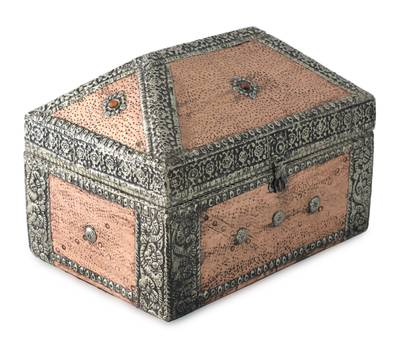 Brass jewelry box, 'Palatial' - Repousse Mango Wood Jewelry Box