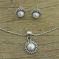 Pearl jewelry set, 'Perfection' - Handmade Indian Bridal Pearl jewellery Set in Sterling Silve
