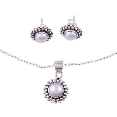 Handmade Indian Bridal Pearl Jewelry Set in Sterling Silver