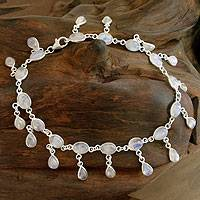 Rainbow moonstone anklet, 'Moon Dancer' - Fair Trade Sterling Silver Rainbow Moonstone Anklet