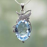 Blue topaz pendant necklace, 'Dazzling Blue' - Blue Topaz Pendant Necklace with Cubic Zirconia