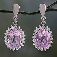 Amethyst dangle earrings, 'Violet Splendor' - Amethyst dangle earrings