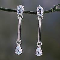 Topaz dangle earrings, 'Blue Junction' - Topaz dangle earrings