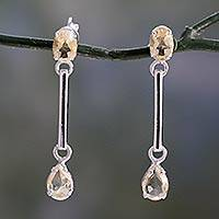 Citrine dangle earrings, 'Sunbeams' - Citrine dangle earrings