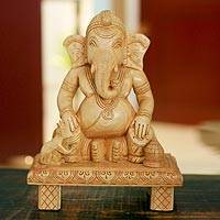 Wood statuette, 'Ganesha Plays Drums'
