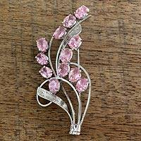 Sterling silver brooch pin, 'Pink Gladiola' - Floral Sterling Silver Cubic Zirconia Brooch Pin from India