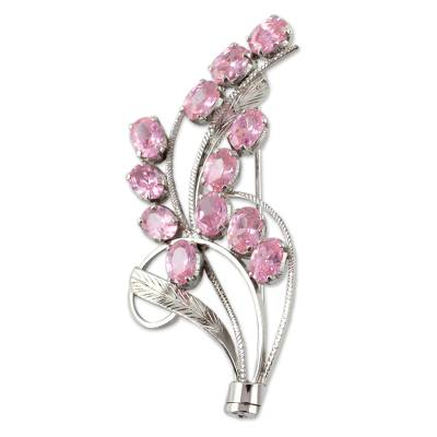 Floral Sterling Silver Cubic Zirconia Brooch Pin from India