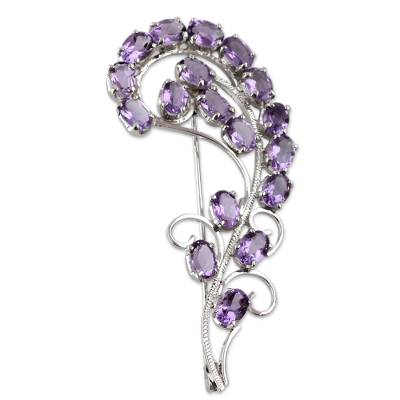 Floral Sterling Silver Amethyst Brooch Pin Indian Jewelry