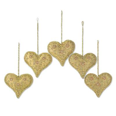 Beaded ornaments, 'Floral Heart' (set of 5) - Heart Shaped Beaded Tree Ornaments from India (Set of 5)