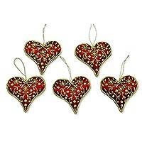 Beaded ornaments, 'Burgundy Heart' (set of 5)