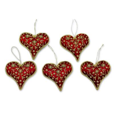 Beaded ornaments, 'Burgundy Heart' (set of 5) - Red Hand Crafted Beaded Heart Ornaments (Set of 5)
